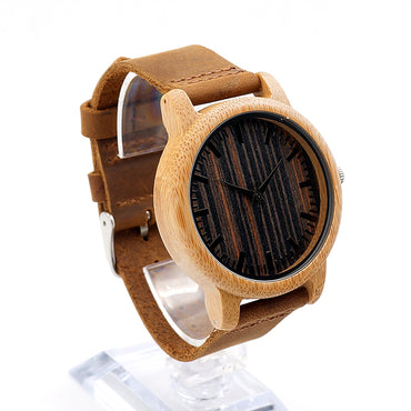 Handmade Bamboo Watches Wooden Dial Leather Strap Quartz Wristwatch Wood Watches