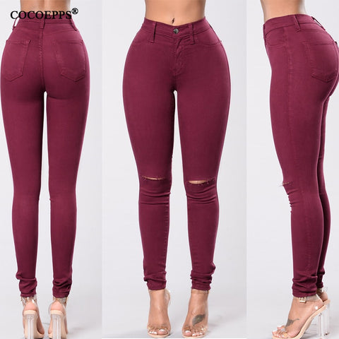 High Waist Sexy Women Hole Jeans