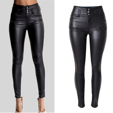 PU Leather  Hip Push Up Black jeans