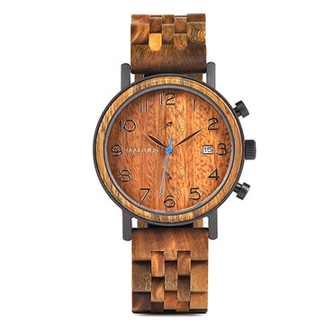 Business Stainless Steel Watch Hand Crafted Wood Wristwatch