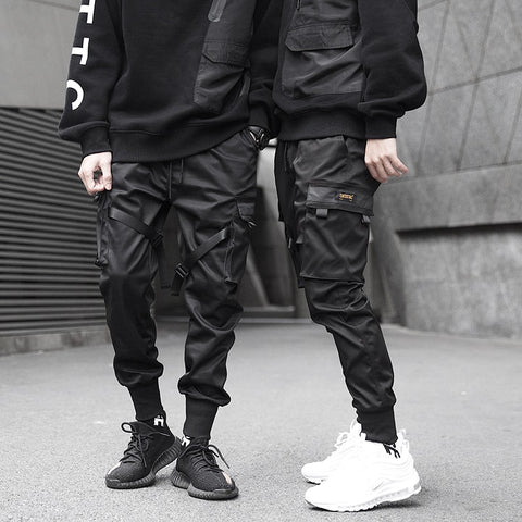 Ribbons Cargo Pants Black Pocket Casual Streetwear Pants