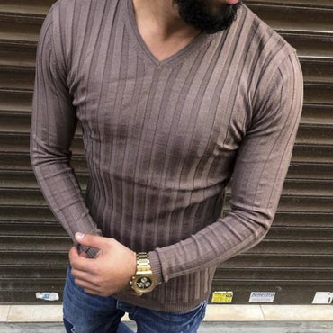 Brand Casual Sweater Long Sleeve Striped Fitness Knitted Sweaters