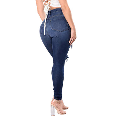 High Waist Jeans Women Slim Washed Ripped Hole Gradient Long Jeans