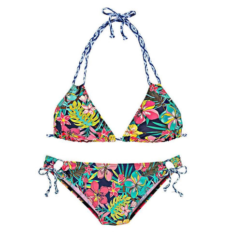 Color Flower Leaf Bikini Two Piece Colorful Hanging Neck Cartoon Floral Swimwear