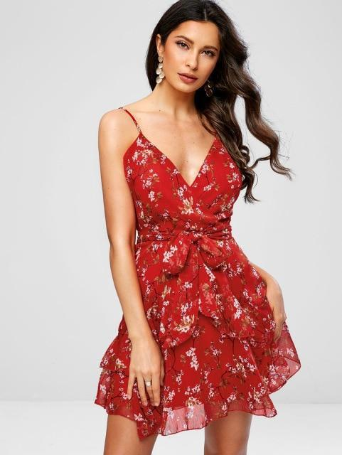 Frilled Floral Knotted Cami Dress Spaghetti Strap Summer Dress