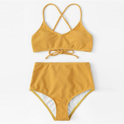 Yellow Rib Knit Top With High Waist Bottoms Bikini