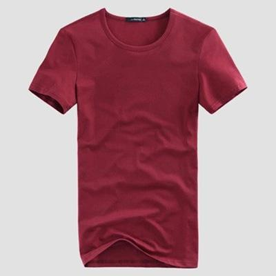 O-neck Short Sleeve Cotton Stretch Lycra Tight  Casual T-shirt