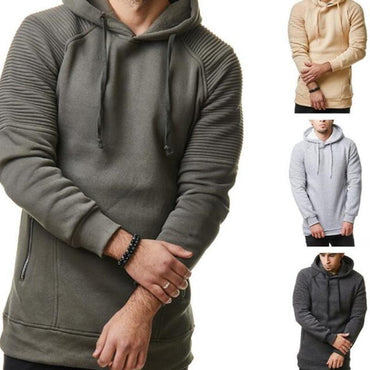 Long Sleeve Solid Color Hooded Men Hoodies
