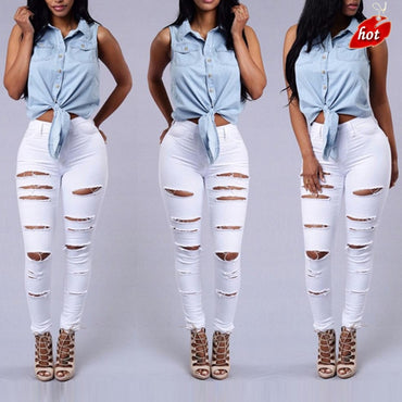 Style White Hole Cool Denim High Waist Jeans