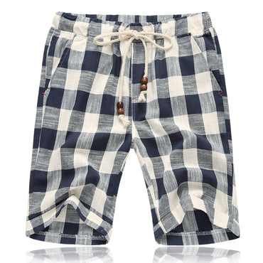 Men Plaid Striped Linen Cotton Shorts