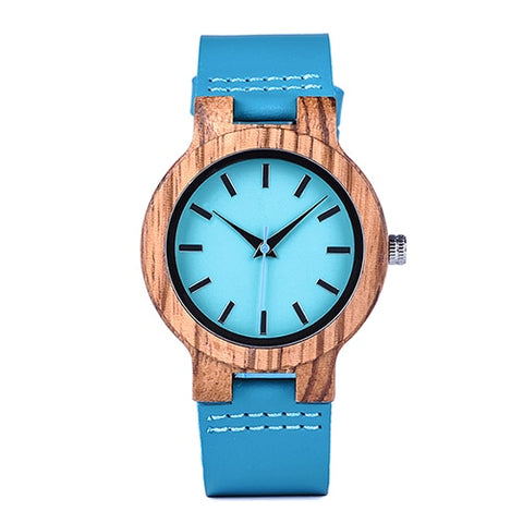 Watches Zebra Wooden Timepieces Turquoise Blue Men Watch Lovers Great Gifts