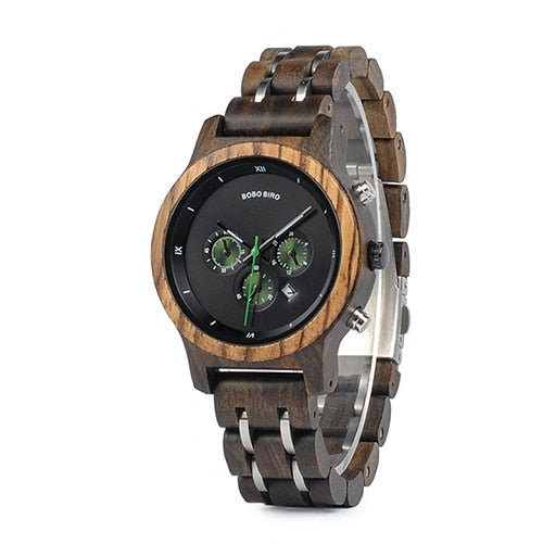 Watches Wood Metal Chronograph Wristwatch Customize Logo