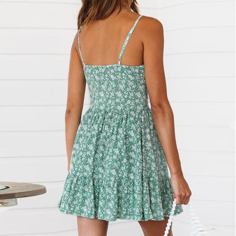 Boho Strappy V-neck Ruched Ruffles Mini Dress