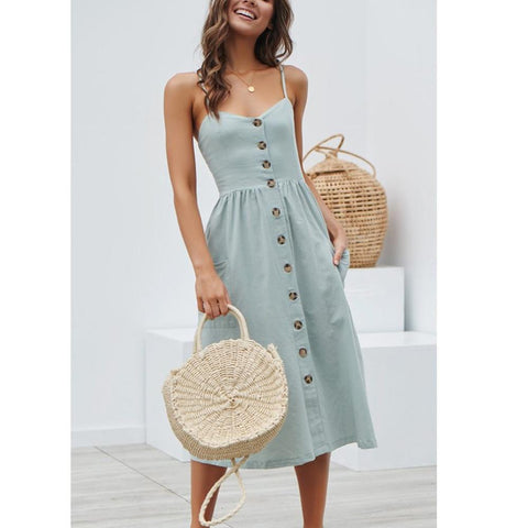 Hot Fashion Buttons Pockets Dots Cotton Dress