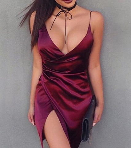 New Fashion Bodycon Sexy Split Dress Wine Red Deep V Neck Mini Dress