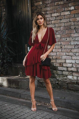 Sexy Bowknot Deep V-Neck Party Spring Summer Dress