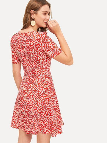 Summer Dress Ditsy Printed Floral Ball Gown Mini Dress