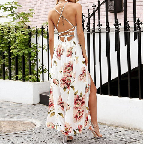 Hot Fashion Luxury V-Neck Lace Printing Off Shoulder Floral Long Maxi Dress