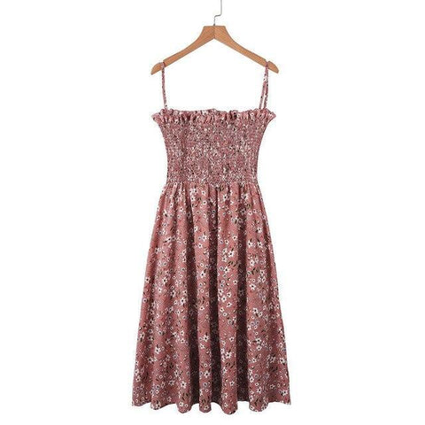 New Fashion Sleeveless Floral Printed Draped Tunic Casual Ball Gown Strap Dress