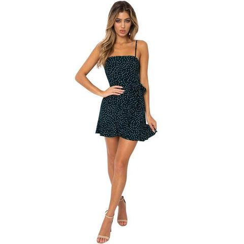 Summer Sexy Strappy Dress Floral/Dots Print Ruffles Backless Mini Dresses