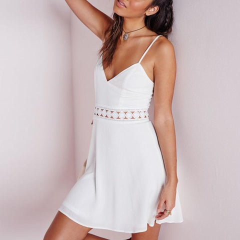 Hot Sale Crochet Hollow Out A Line Dress Sexy V Neck Backless Mini Dresses