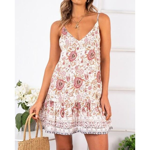 Floral Mini Dress Boho Sleveless Wrap Beach Dresses