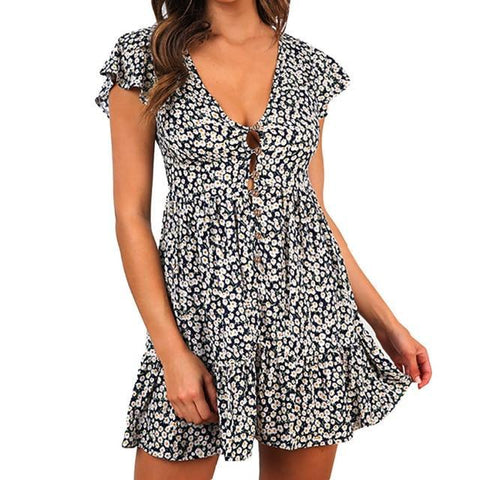 Fashion Fresh Floral Printed Sexy V Neck Wrap Short Sleeve Rufflles Mini Dress