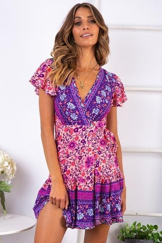 Bohemian Printed Mini Beach Dress V Neck Bandage Summer Floral Dress