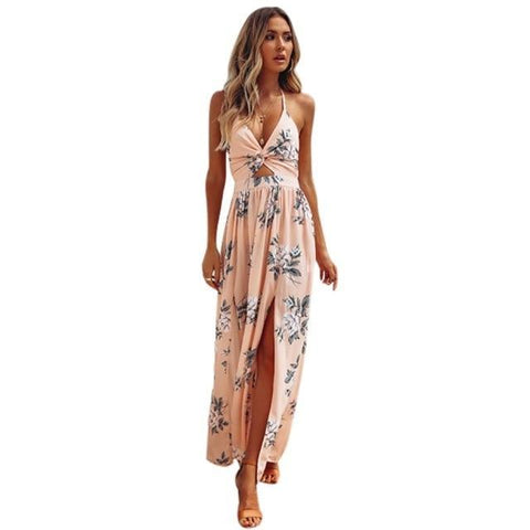 BOHO Floral Print Beach Dress Sleeveless Maxi Dress