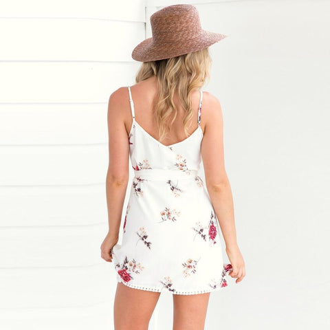 Sleeveless Spaghetti Straps V-neck Lace-up Floral Summer Dress