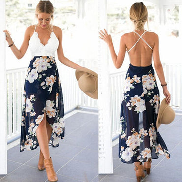 Floral Print Lace Summer Boho Maxi Dress