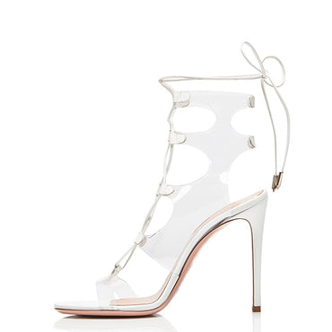 Latest Open Toe High Heel Clear Sandals Boots