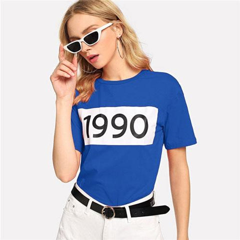 Preppy Color-Block Number Print T Shirt Women Clothes  Summer Casual BasicShort Sleeve Fashion Tshirt Ladies Tops