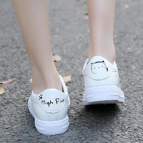 Lace-up White Shoes Pu Leather Solid Color Female Casual Sneakers