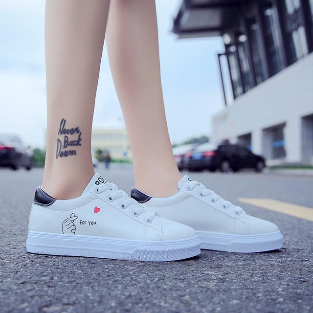 low priced 75aa6 2708d Lace-up White Shoes Pu Leather Solid Color Female Casual Sneakers
