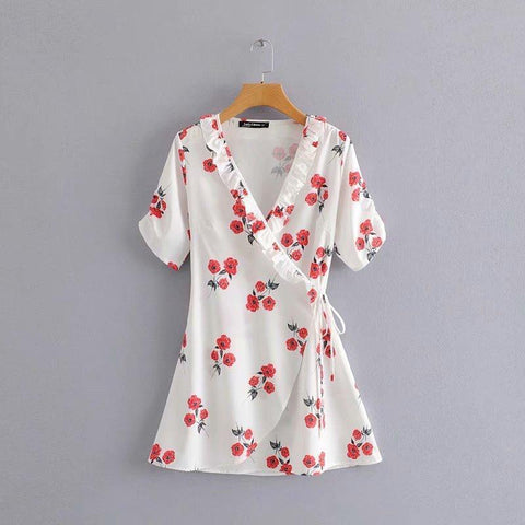 Hot Selling Fashion Floral Printed Mini Dress