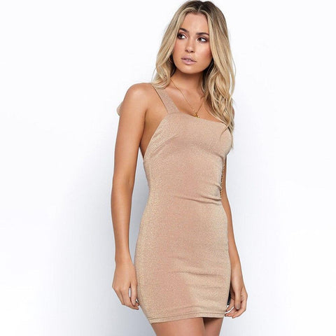 Sexy Metallic Knit Bodycon Bandage Mini Dress