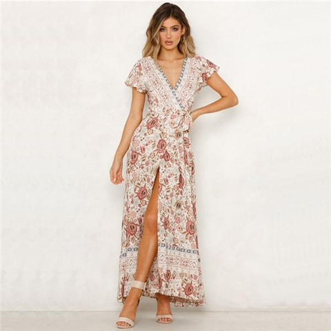 Split Sashes Sexy V Neck Wrap Maxi Dress