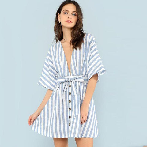 Sashes Striped V neck Ruffle Cotton Short  Dress