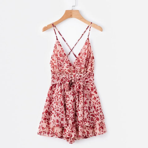 Sexy V Neck Spaghetti Strap Elastic Hollow Waist Ruffle Dress