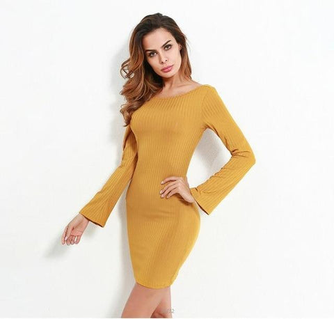 Sexy backless flare long sleeve slim bandages mini dress