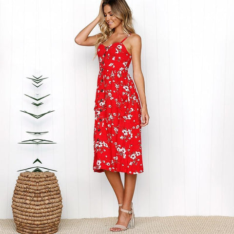Boho Red Floral Printed Sleeveless Spaghetti Strap Pocket Midi Chiffon Dress