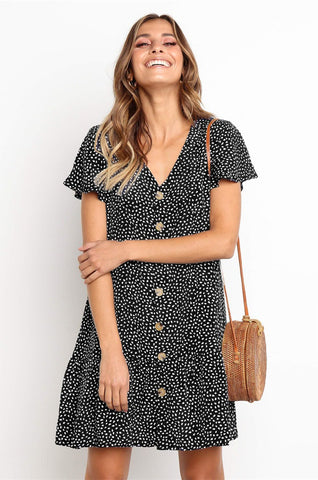Sexy Deep V Neck Short Sleeve Mini Dress