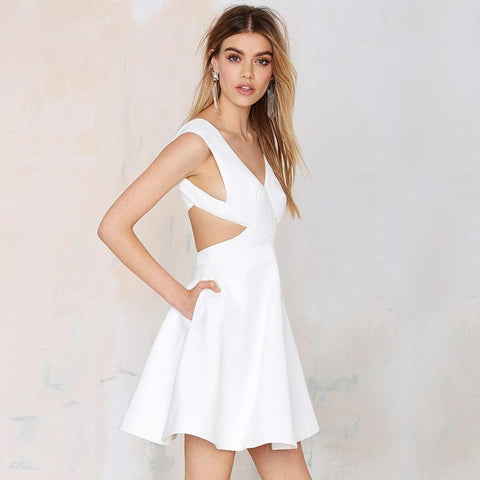 Sweet sexy cross deep backless  A-line white dress