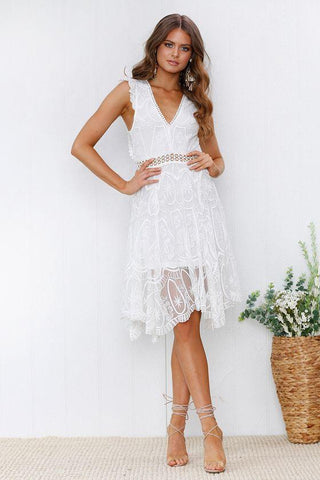 Hot Selling Backless White Lace Dress
