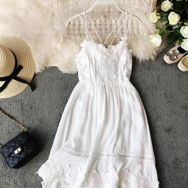 Fashion Sleeveless Embroidery Lace Patchwork Mini Dress