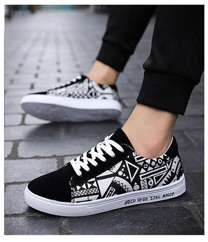 Vulcanize Shoes Lace-up Fashion printed canvas shoes  Flat Casual Shoes