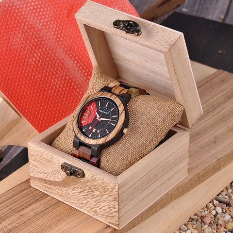 Wooden Watch Men Luxury Date Display Wood  Quartz Watches