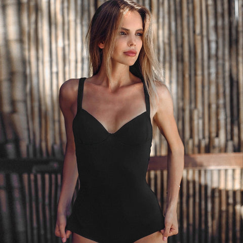 Deep V Neck Fashion Black Bodysuit