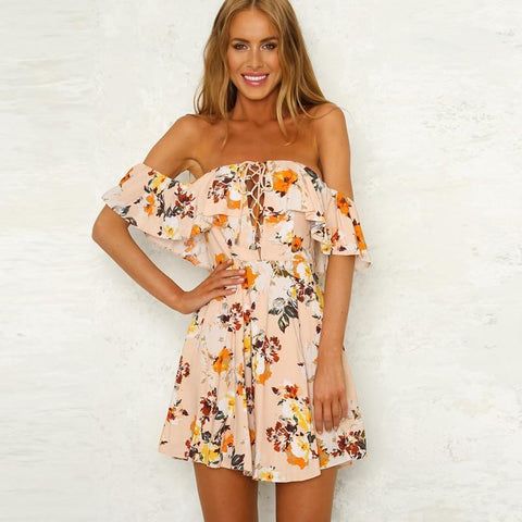 Sexy Off Shoulder Floral Print Ruffle Boho Mini Dress